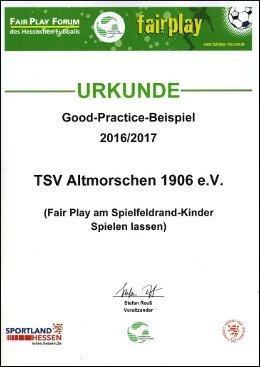 Fairplay-Ehrung für den TSV Altmorschen