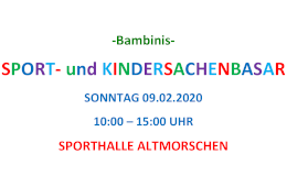 Kindersachenbasar am 09.02.20 in de Turnhalle GAZ