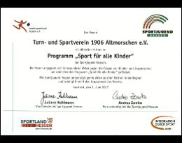 Partnerschaft 2017 im Programm Sport für alle Kinder